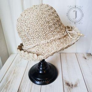 Natural Beige Straw Cloche Hat